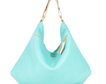 Isabelle - Handmade Mint Green Leather Hobo Shoulder Bag