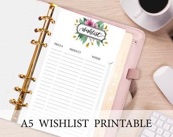A5 Wish List Printable, Printable Wish List, A5 Filofax Kikki K, A5 Planner Inserts, Lined Filofax accessories, Floral Wishlist Printable.