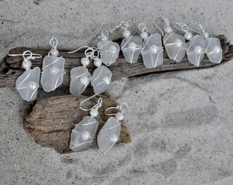 Custom Seaglass Bridesmaids' Earrings Set - White Seaglass with Pearls - Set of 6 - Made to Order