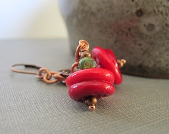 Glass Earrings, Copper Earrings, Deep Red, Red and Green, Copper Chain, Lampwork Glass, Czech Glass, Copper Jewelry,