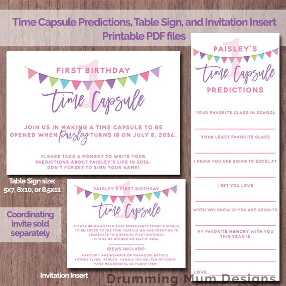 Time Capsule First Birthday GIRL 1st Printable Time Capsule