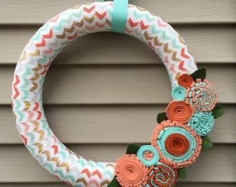 Spring Wreath - Easter Wreath - Chevron Wreath - Felt Flower Wreath - Spring Decor - Spring Felt Wreath - Felt Wreath - Yarn Wreath - Wreath