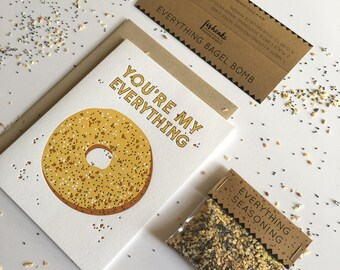 Everything Bagel Bomb – Letterpress Card + Prank Kit, Valentines Day Card