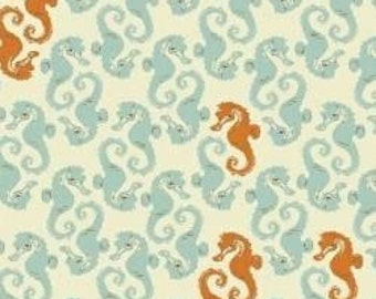 Heather Ross Mendocino Seahorses Light Blue Fabric - 1 yard
