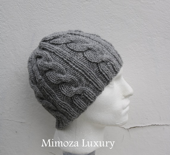 Light Grey Men's Beanie hat, Hand Knitted Hat in light grey beanie hat, knitted men's, women's beanie hat , winter hat, light gray ski hat