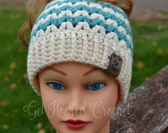 Adult or Teen V Stitch Messy Bun Hat, Mommy and Me Messy Bun Hat, Messy Bun Hat, Ponytail Hat, Messy Bun Beanie, Teen Messy Bun Hat