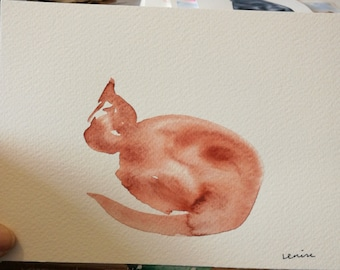 Original watercolor cat