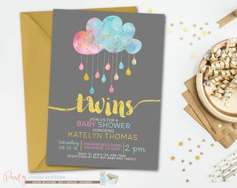 Twins Baby Shower Invitation, Cloud Baby Shower Invitation, Boy and Girl Baby Shower, Girl and Boy Baby Shower, Gold Baby Shower Invitation