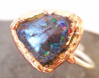 Boulder Opal Ring, Boulder Opal Silver & Copper Ring, Australian Opal Ring, Opal Ring, ring size N 1/2, US ring size 6 3/4