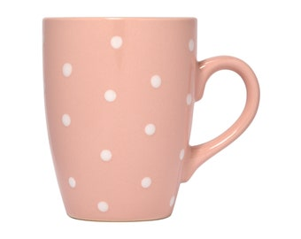 Ceramic Polka Dot Mug, 10oz, Pink