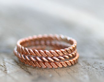 Twisted copper stacking rings (E0266)