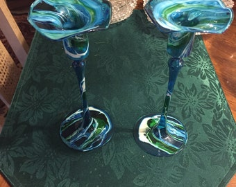 Art Glass Candle Holders