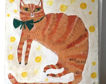 Painting on reclaimed wood of a ginger tabby cat