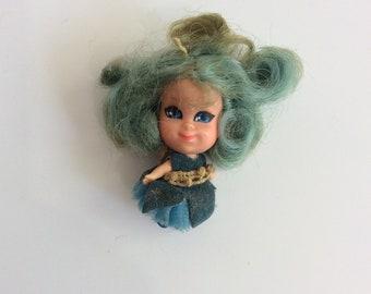 Vintage Little Kiddles Doll, Blue Hair