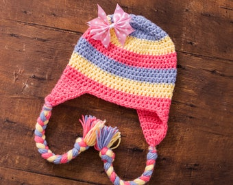 little girl striped hat baby girl hat toddler girl hat earflap striped hat