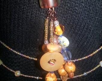 Handmade OOAK #63 Sodalite, Milliflori and Lampwork with Zuni Bead Necklace
