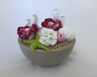 Crochet coral reef in a pot