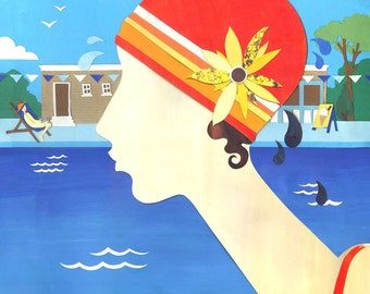 Lido Time Limited Edition Print - Swimming Art Print - Retro Art Print - Travel Illustration - Art Deco Print