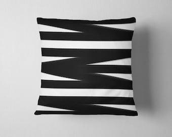 Black and white bandage stripes throw pillow