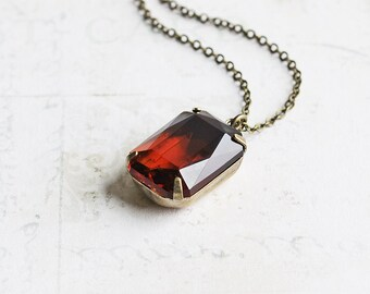 Rusty Brown Necklace, Smoky Topaz Rhinestone on Antiqued Brass Chain, Vintage Glass Pendant, Autumn Jewelry