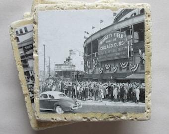 Vintage Wrigley Field Coasters -set of 4- Cubs, baseball, Chicago, vintage baseball