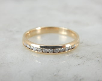12 Diamond Channel Set Wedding Band in Yellow Gold LNZAFU-P