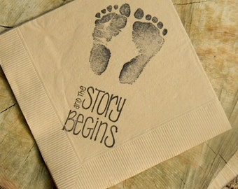 The Story Begins Baby Shower Footprints Light Burlap Cocktail Napkins Gender Neutral Baby Girl or Baby & Rustic Personalized White Mason Jar Wedding Cocktail Napkins