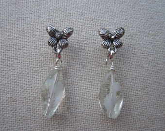 Butterfly post  earrings with clear and pale yellow bead