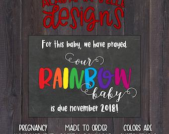 Chalkboard Rainbow Baby - Pregnancy Announcement - Photo Prop - Digital File