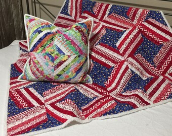 Pattern - Quilted Table Topper Stars and Bars Pattern/Tutorial Easy String Piecing