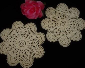 Crochet Doilies. 2 Vintage Lace Doilies. A Pair of Crochet Lace Doilies. 2 Ecru (Light Brown) Crocheted Doilies RBT2972