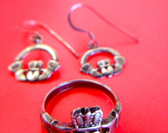 Spring Sale Symbolic Sterling Silver Claddagh Ring/ Earrings Set Handmade Traditional 1950s Wedding Jewelry Set of 2