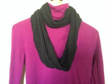 Infinity Scarf Black Ruffled with Shimmering Thread *Handmade*