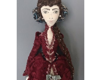 ELSA Collectible Handmade Fabric Art Doll OOAK Textile Soft Sculpture