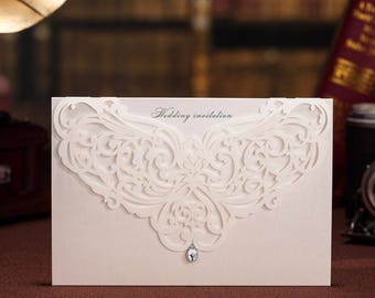 Lasercut Diamonte Wedding Invitation