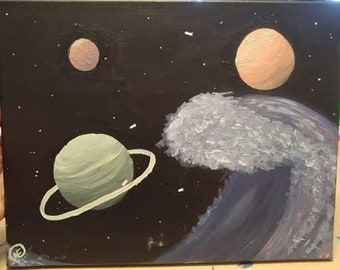 """Acrylic Painting, """"The Waves of Space"""" - 14x11in Canvas Panel (1)"""