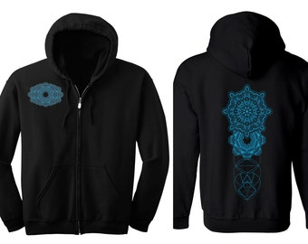 Geometric REALMS MANDALA Hoodie Men's and Women's Black Hooded Sweatshirt Metatron's Cube Sacred Geometry Clothing