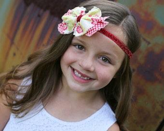 Vichy rouge & tissu Floral jaune arc serre-tête - bandeau rouge - Glitter bandeau bébé nourrisson nouveau-né - Floral - Toddler Girls-