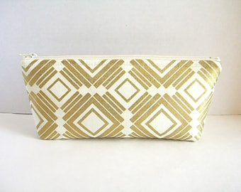Metallic Gold and Cream Clutch - Bridesmaid Makeup Bag - Gold Wedding Clutch - Gold Bridesmaid Clutch - Gold Diamonds Clutch - Gold Pouch