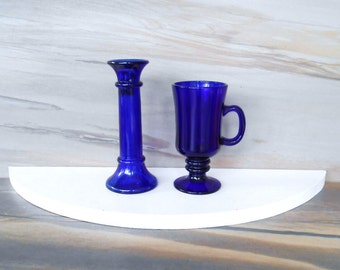 Vintage cobalt blue glass,Candle holder or Vase,Footed glass mug with handle,,Cobalt blue glass candlestick and tea cup for One,Set of 2.