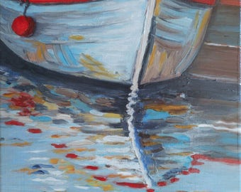 Original oil painting of a boat fishing-Navy-small format Original oil painting of a fishing boat-Small size Navy paint