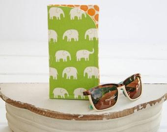 Eyeglass Case   Glasses Case   Green Elephant Monogram Cases for Oversized glasses   Fabric Eyeglass Holder  Funky Eyeglasses Case in Fabric