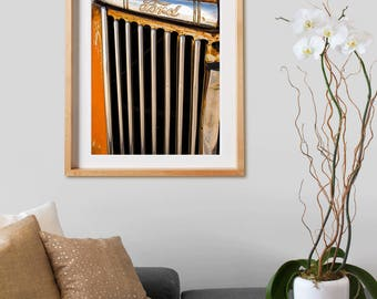 "Ford ""Holbrook.  Photography, wheels, cars, Ford, orange, decor, wall art, artwork, large format photo."