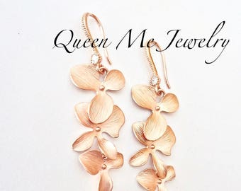 Rose gold orchid earrings ~ Cascading orchid earrings ~ Rose gold earrings ~ Beach wedding jewelry ~ Rose gold wedding earrings, Gift