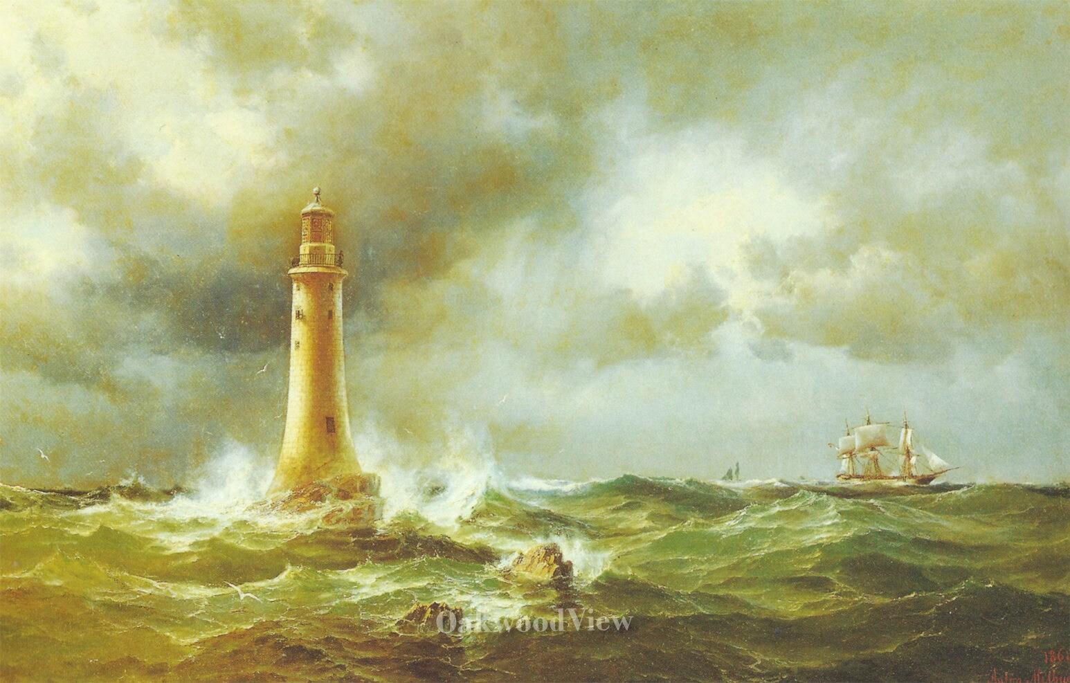 Lighthouse of Eddystone by Anton Melbye Vintage 9x12 Art