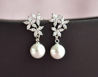 Crystal flower earrings, pearl drop earrings, bridal pearl jewelry, bridesmaid earrings