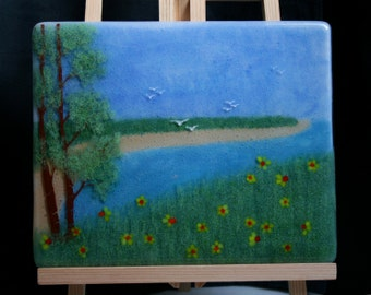 Spring by the Sea - Hand painted Kiln Fused art glass 3D painting. Glass art / panel.  One of a kind painted glass panel. Seascape landscape