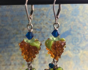 Handmade Glass Grape Earrings -- Perfect for Wine Lovers -- Chardonnay Grape Earrings