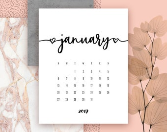 Baby Calendar For January 2019 Announcement pdf | Etsy