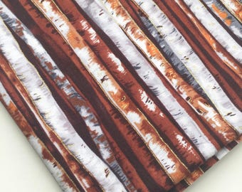 Autumn in the Forest Fabric, Birch Tree Fabric, Tree Trunk Landscape Fabric, Fabric-Quilt Fabric, OOP, HTF, Rare